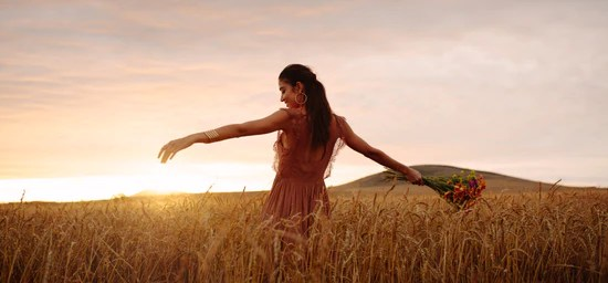 Woman enjoying a day in wheat field – Jacob Lund Photography Store- premium  stock photo