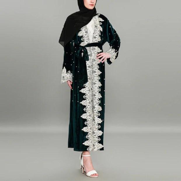 Lace White Pearl Embellished Abaya