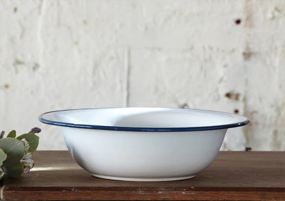 White Enamel Bowl  Large  Vintage and Nostalgia Co