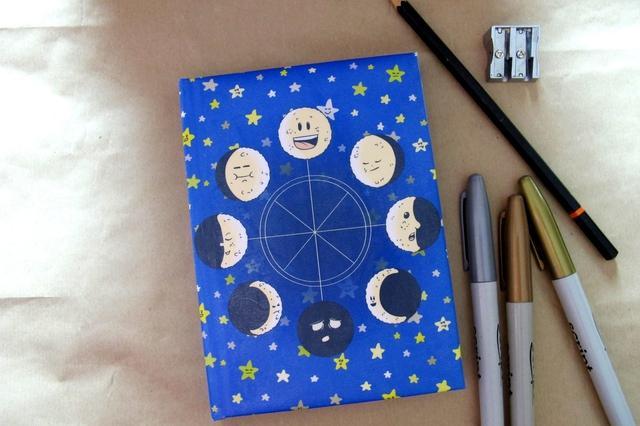 moon phase stationery set