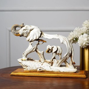 Feng Shui Golden Elephant Showpiece with Wooden Base