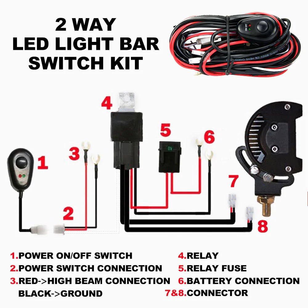 led hid wiring loom harness spot work driving light bar 12v 40a 40a hid led light bar driving light wiring harness kitfor one light [ 1000 x 1000 Pixel ]