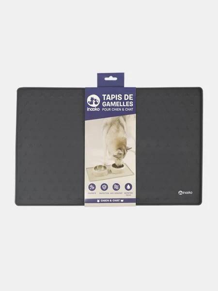 tapis de gamelle pour chien et chat gris fonce
