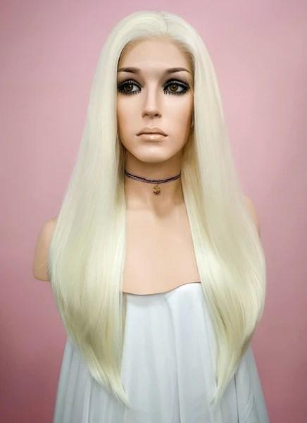 straight white platinum blonde