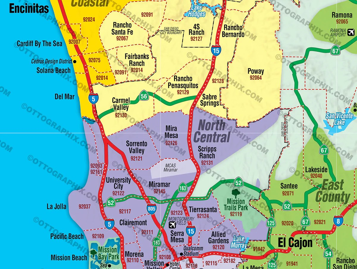 San Diego County Map FULL with Zip Codes Otto Maps