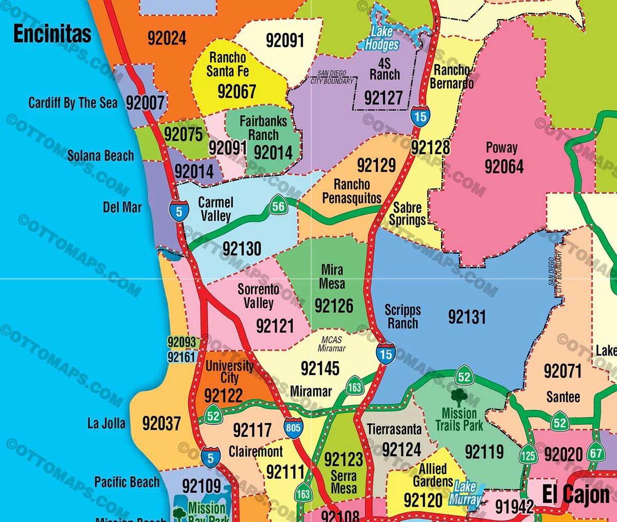 San Diego County Zip Code Map COASTAL Otto Maps