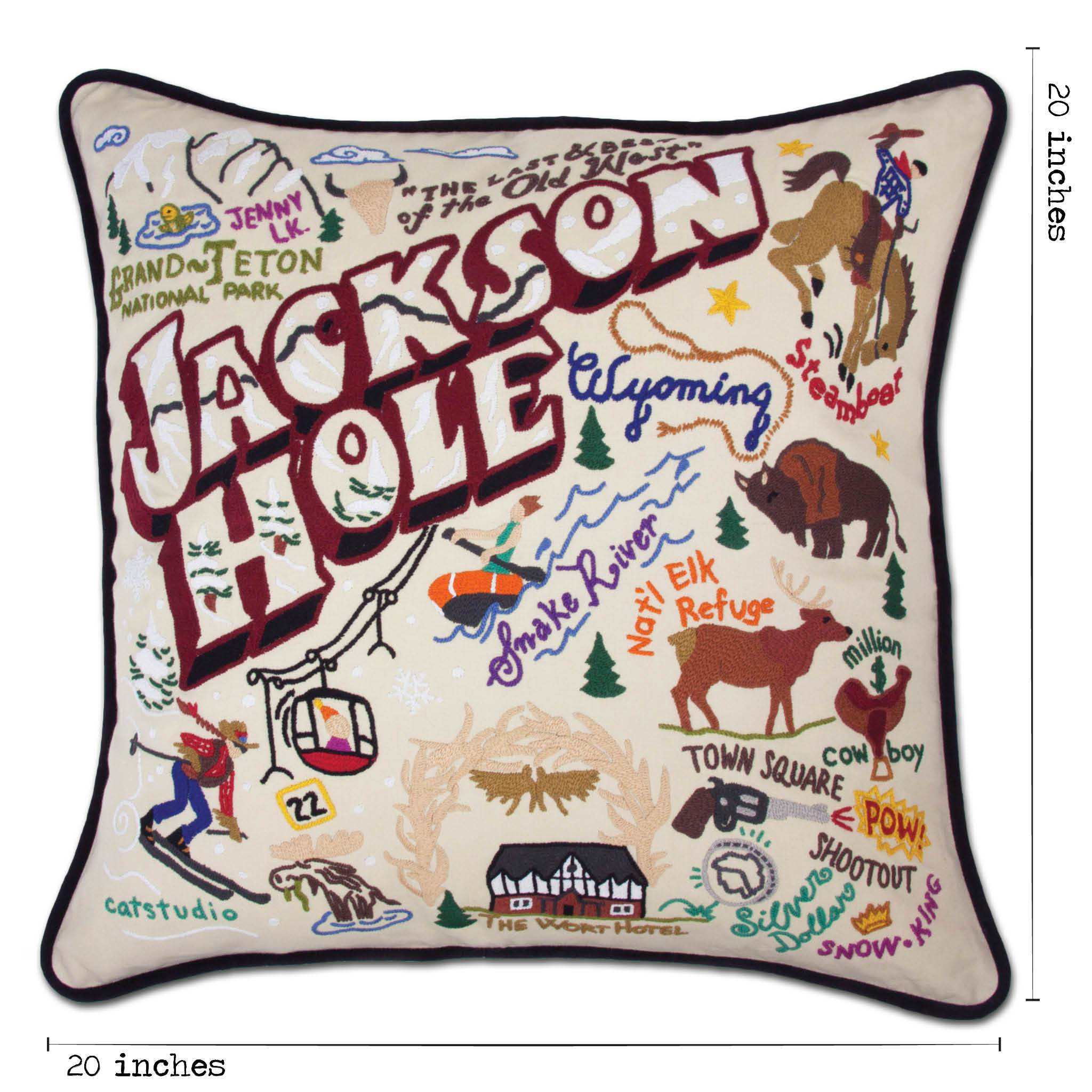 jackson hole hand embroidered pillow
