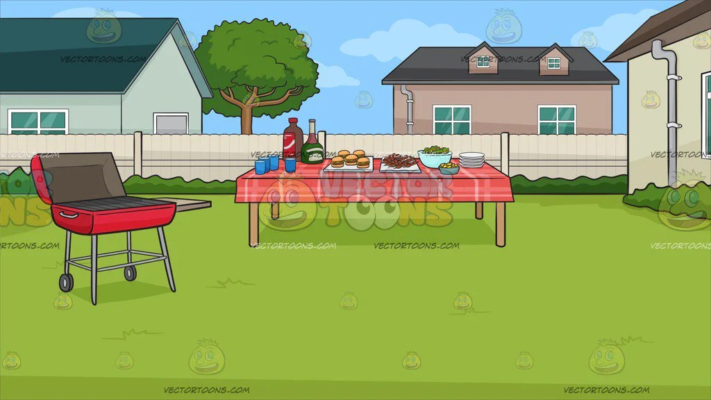 A Backyard Barbecue Background Clipart Cartoons By Vectortoons