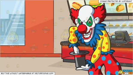 clown inside restaurant creepy bald doing magic fast clipart