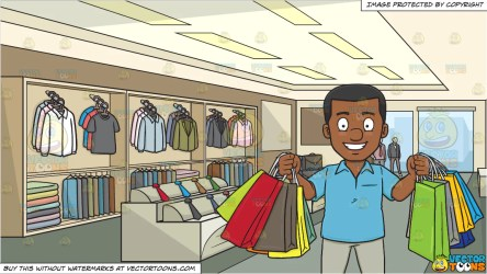 A Black Man Smiles In Pleasure After A Shopping Spree and Inside A Clo Clipart Cartoons By VectorToons
