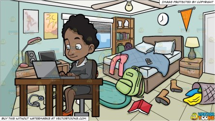A Black Woman Sitting At Her Desk Using A Laptop Computer and A Messy Clipart Cartoons By VectorToons