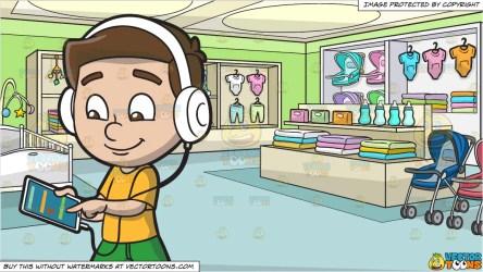 music boy playlist listening department tablet his mobile using headphones clipart cartoons