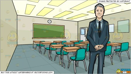 A Business Professional and Inside A High School Classroom Background Clipart Cartoons By VectorToons