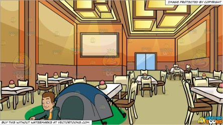 A Camper Cooking His Meal Outside The Tent and A Restaurant Dining Roo Clipart Cartoons By VectorToons
