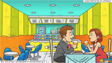 A Couple Enjoying A Romantic Dinner Date In A Restaurant and Inside An Clipart Cartoons By VectorToons