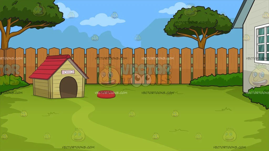 A Dog House In The Backyard Background Clipart Cartoons By Vectortoons
