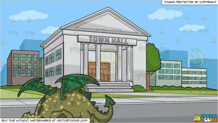A Friendly Dragon and A Town Hall Background Clipart Cartoons By VectorToons