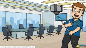 selfie guy board his taking enjoys