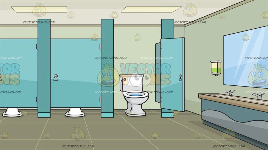 A Public Bathroom With Cubicles Background  Clipart