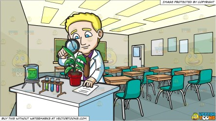 A Scientist Studying A Plant and Inside A High School Classroom Backgr Clipart Cartoons By VectorToons