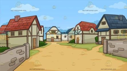 village medieval background cartoon clipart houses vectortoons brick walls tall soil cartoons illustrations roads