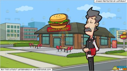 A Waiter At A Fine Dining Restaurant and Outside A Burger Shop Backgro Clipart Cartoons By VectorToons