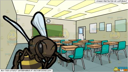 An Active Bee and Inside A High School Classroom Background Clipart Cartoons By VectorToons
