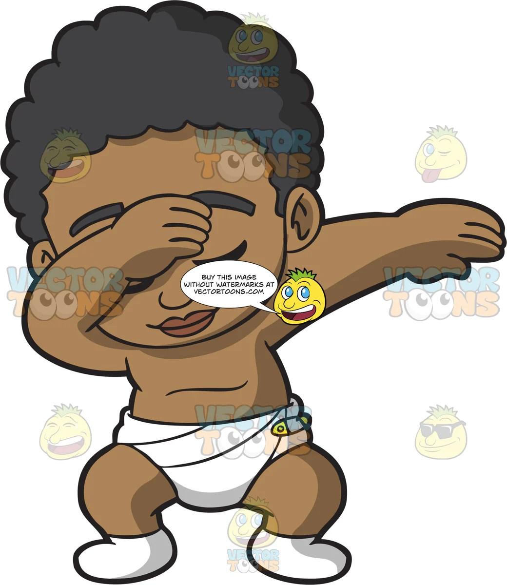 dabbing black baby boy clipart