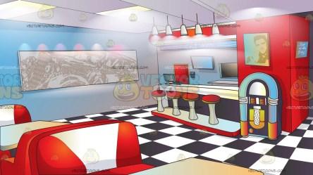 diner background classic cartoon retro clipart counter menu floor cartoons checkered tables wall