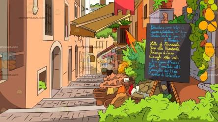 village street background european cute cartoon restaurants lined scenes clipart vectortoons cartoons lake winter