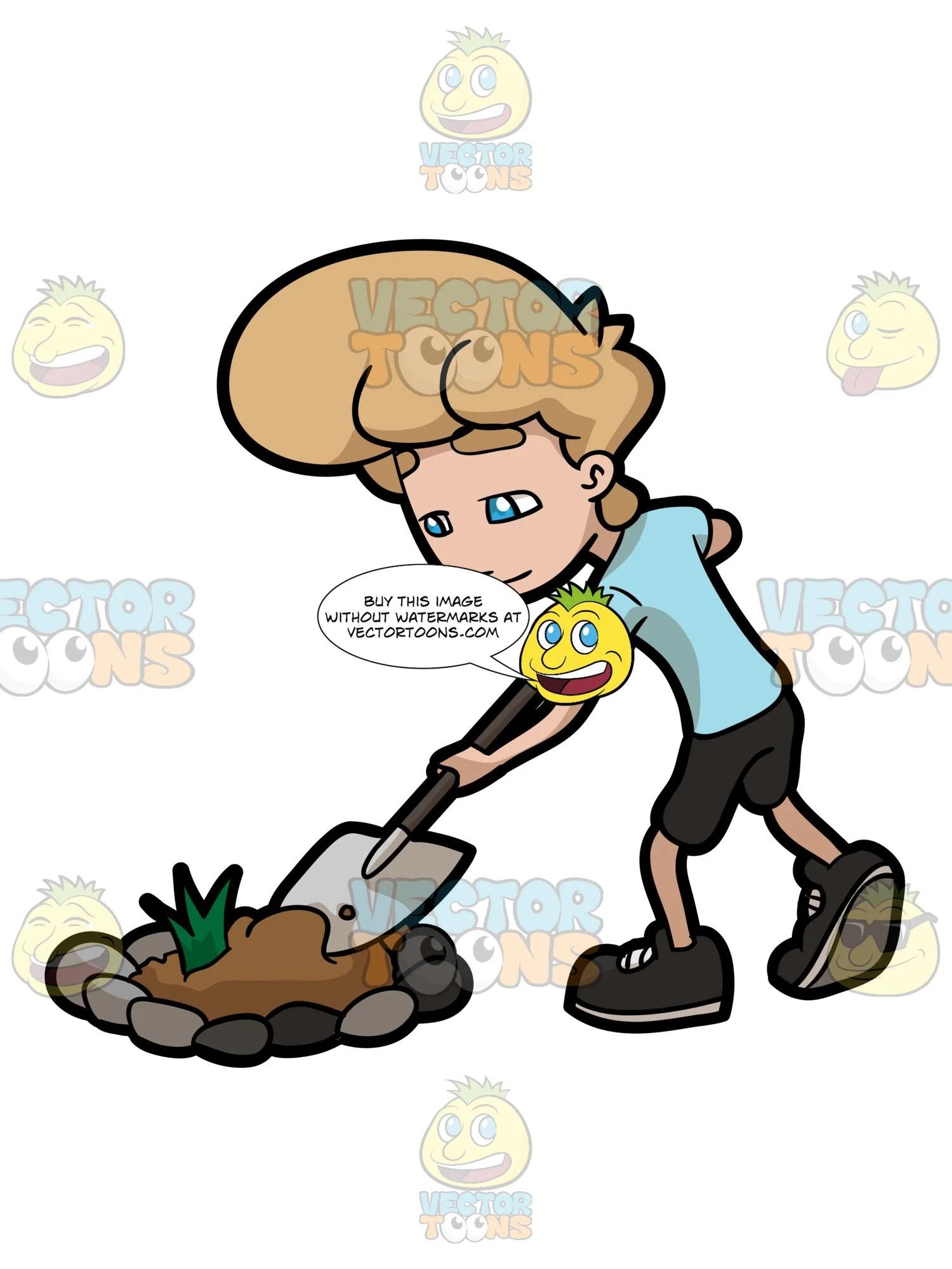 hight resolution of a man digging a bulk of soil from a garden patch clipart cartoons by vectortoons