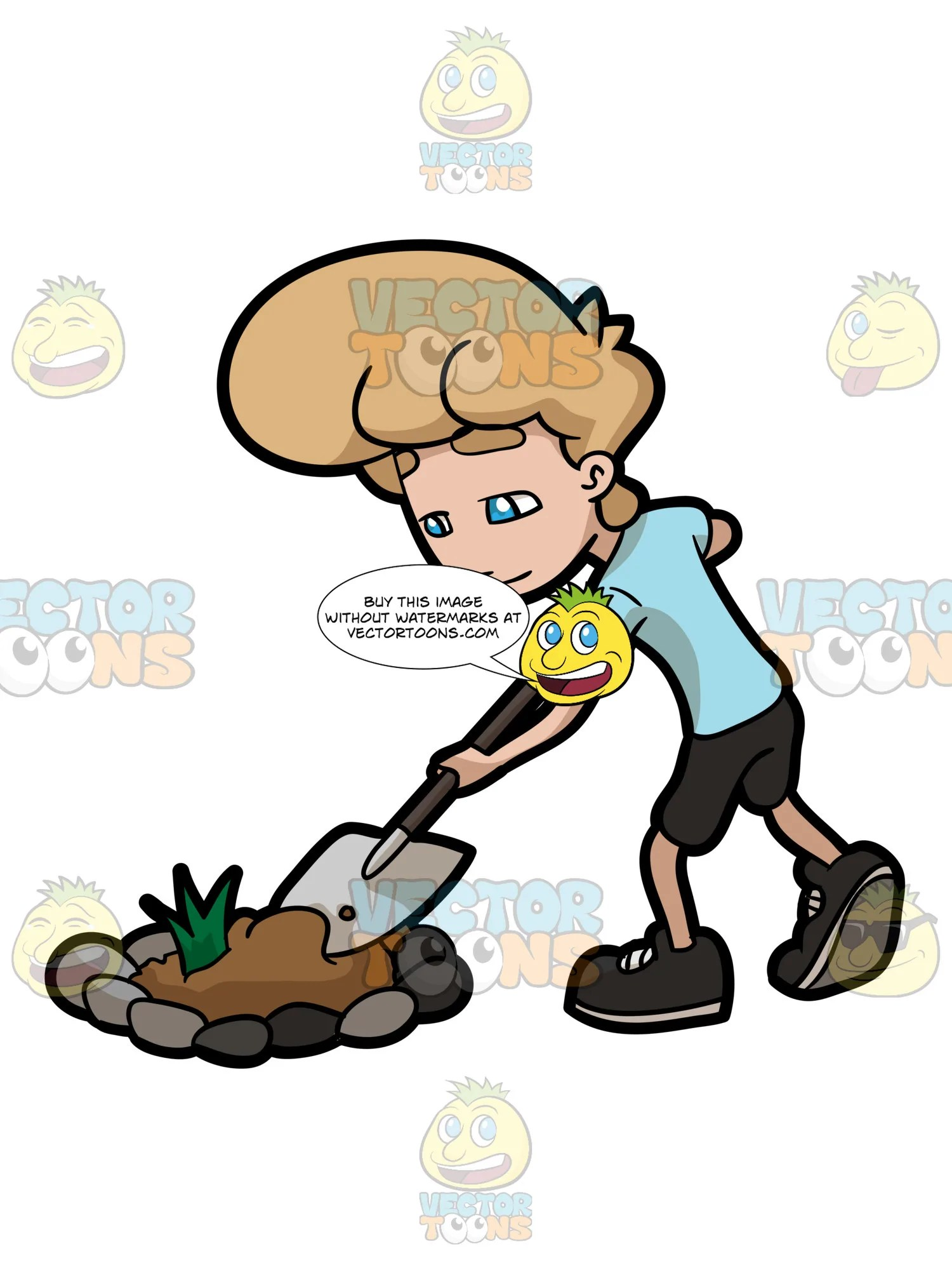 small resolution of a man digging a bulk of soil from a garden patch clipart cartoons by vectortoons