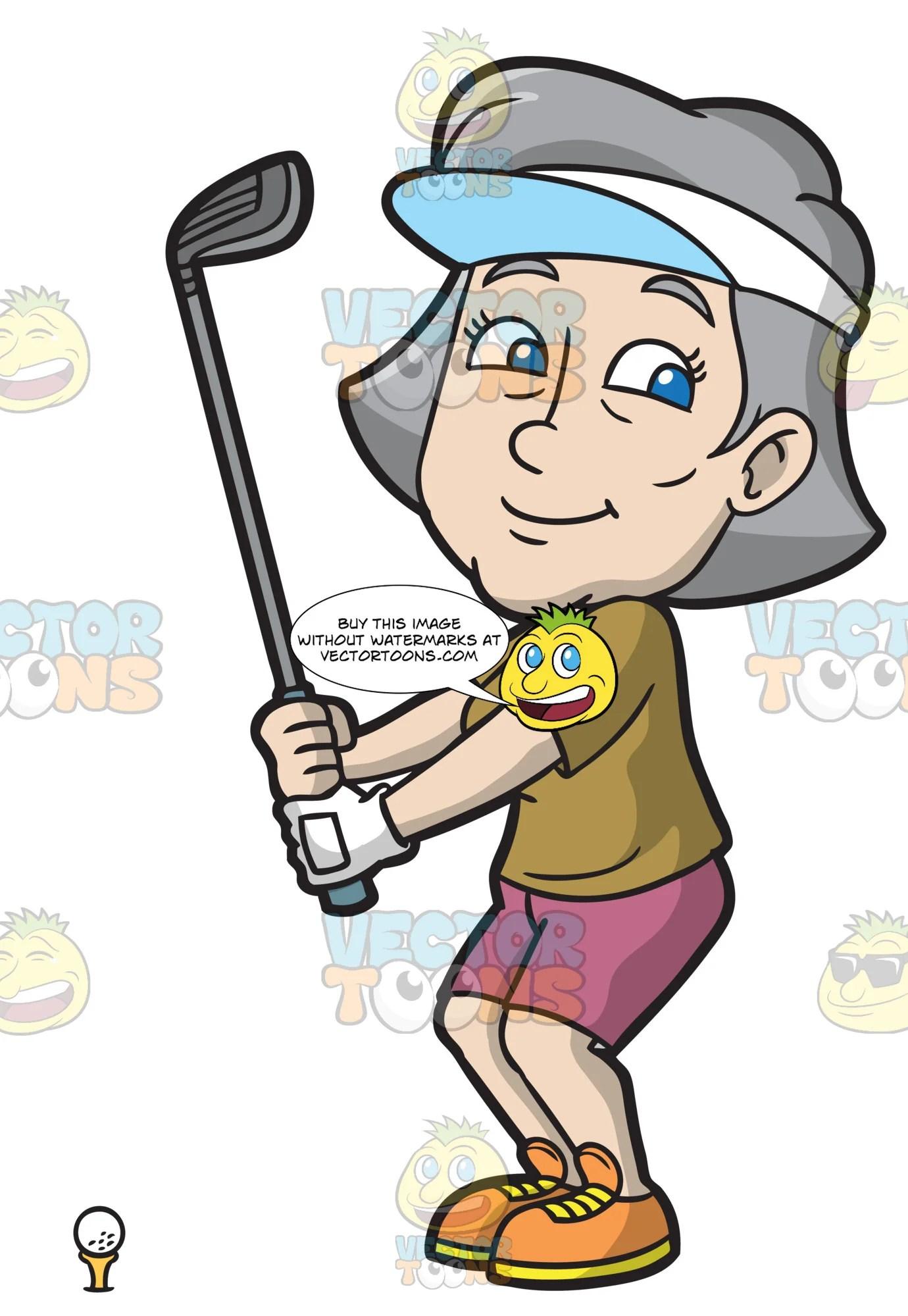 hight resolution of a fun mature woman enjoying a game of golf clipart cartoons by vectortoons