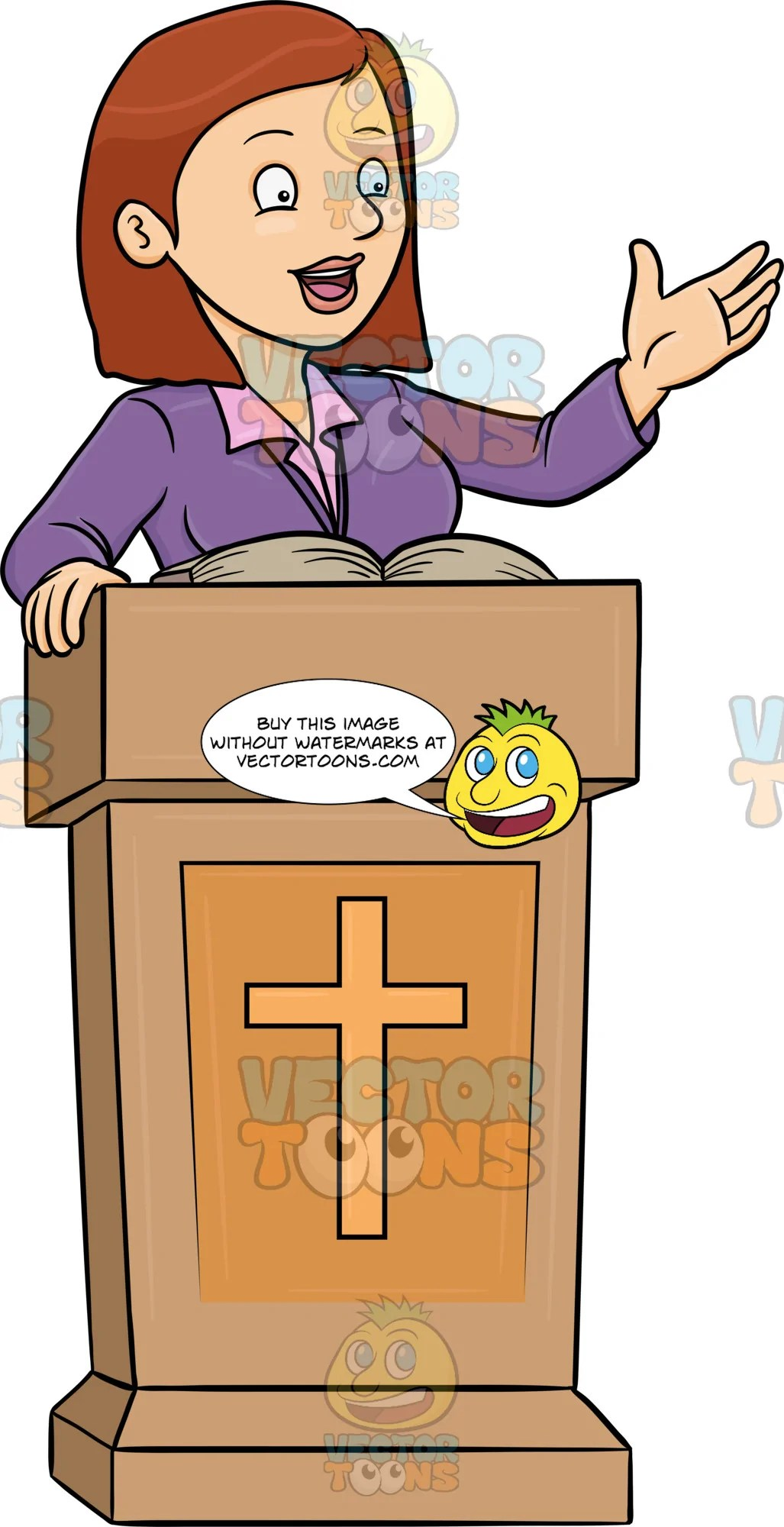 hight resolution of a female preacher telling the good news clipart cartoons by vectortoons