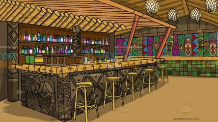 tiki bar background inside vectortoons cartoon clipart nice table scenes bamboo colorful stools cartoons yellow native adorning
