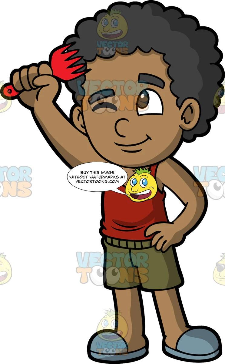 black boy combing hair