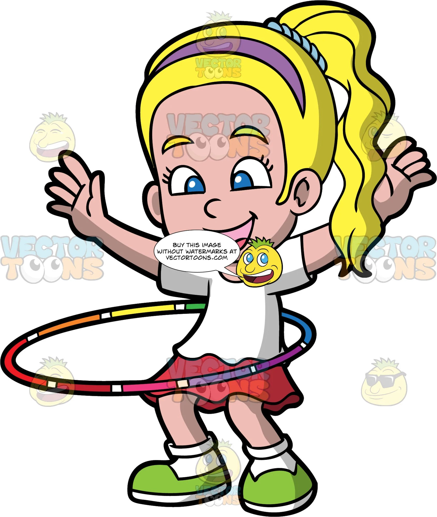 medium resolution of a pretty girl twirling a hula hoop a girl with blonde hair in a ponytail