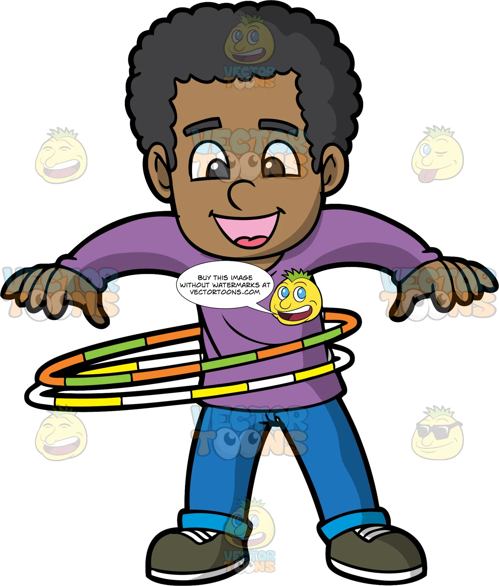 medium resolution of a black boy spinning two hula hoops a black boy with curly hair wearing