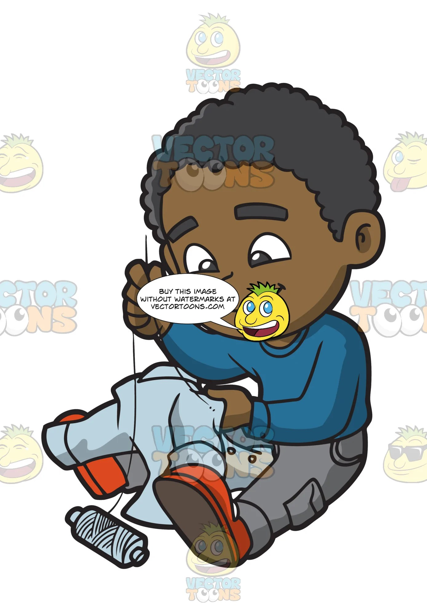 hight resolution of a black boy sewing a button back onto his shirt clipart cartoons by vectortoons