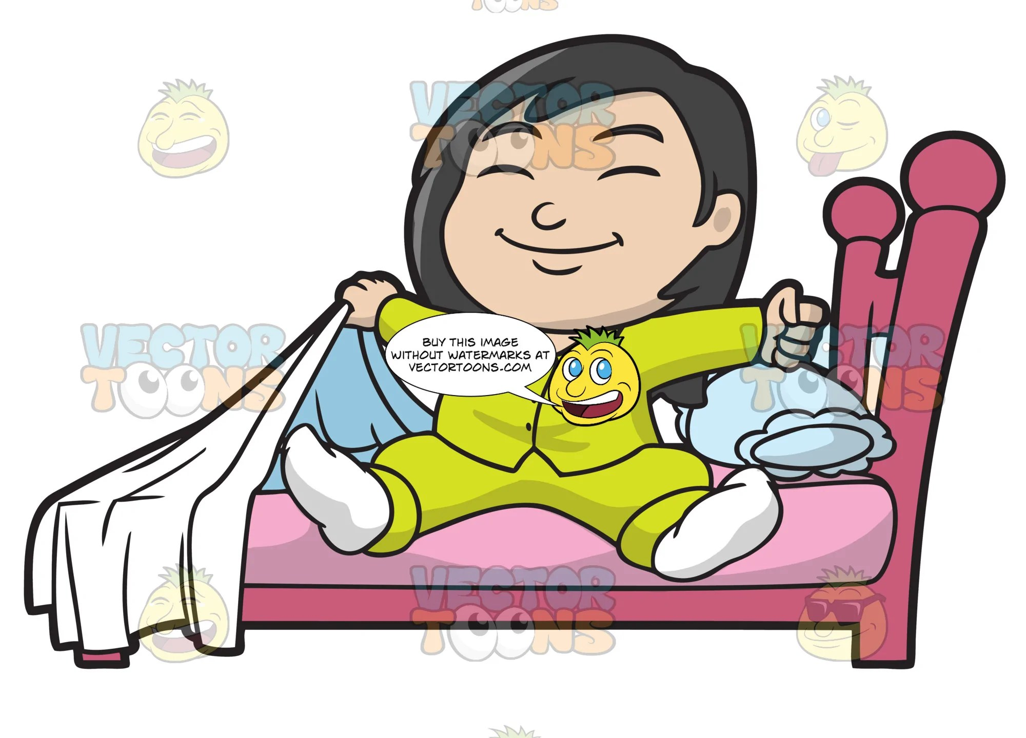 hight resolution of a happy girl stretches her body upon waking up clipart cartoons by vectortoons