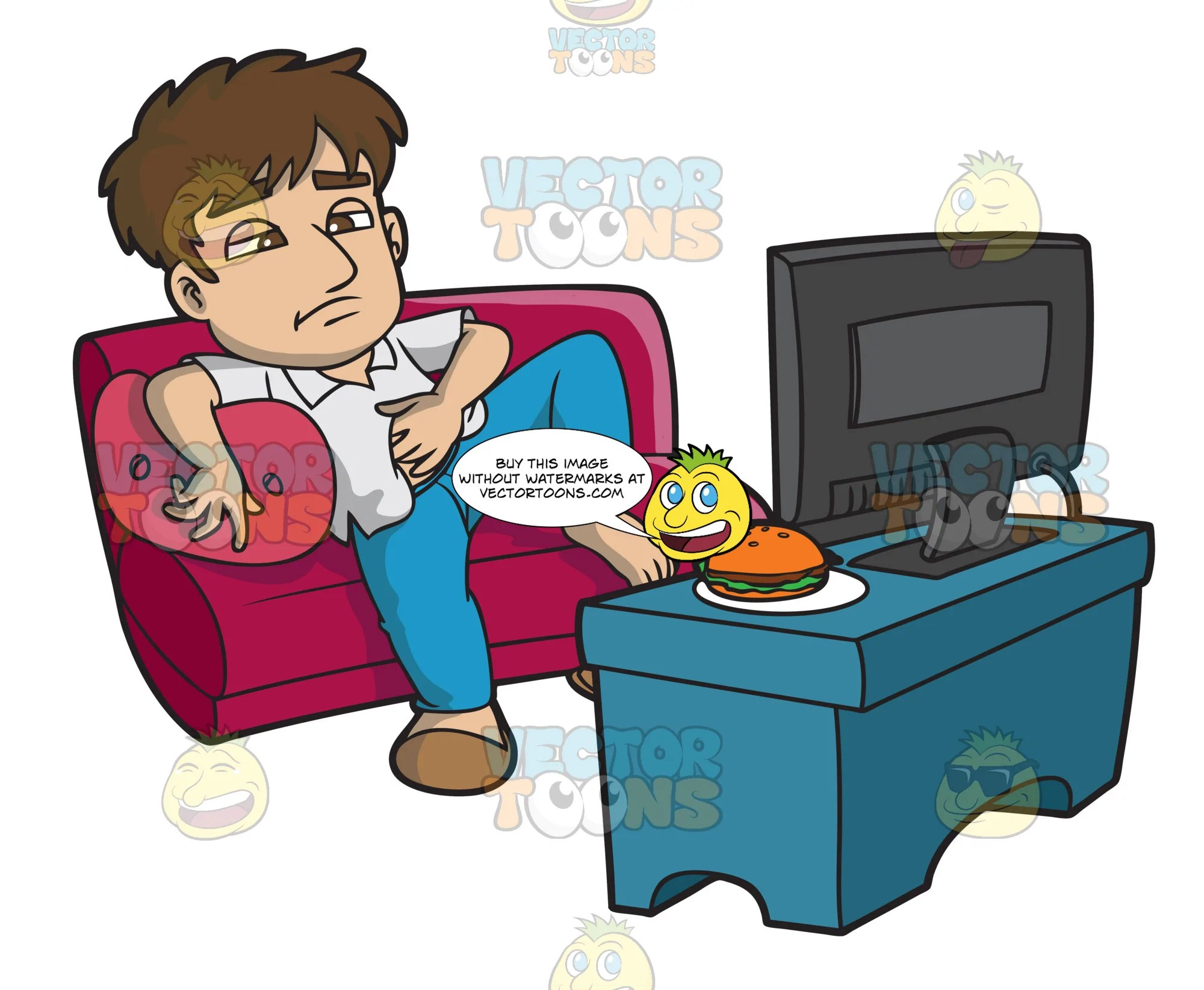 a lazy man eating and watching tv all day clipart cartoons by vectortoons [ 2000 x 1644 Pixel ]