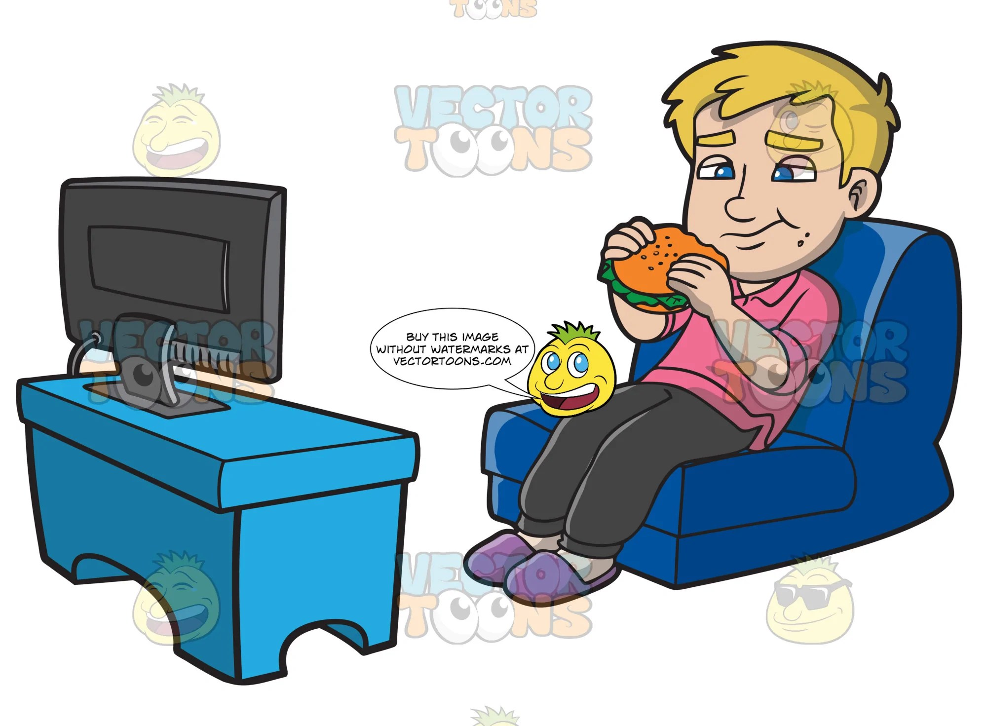 a man munching on a burger while watching tv clipart cartoons by vectortoons [ 2000 x 1471 Pixel ]