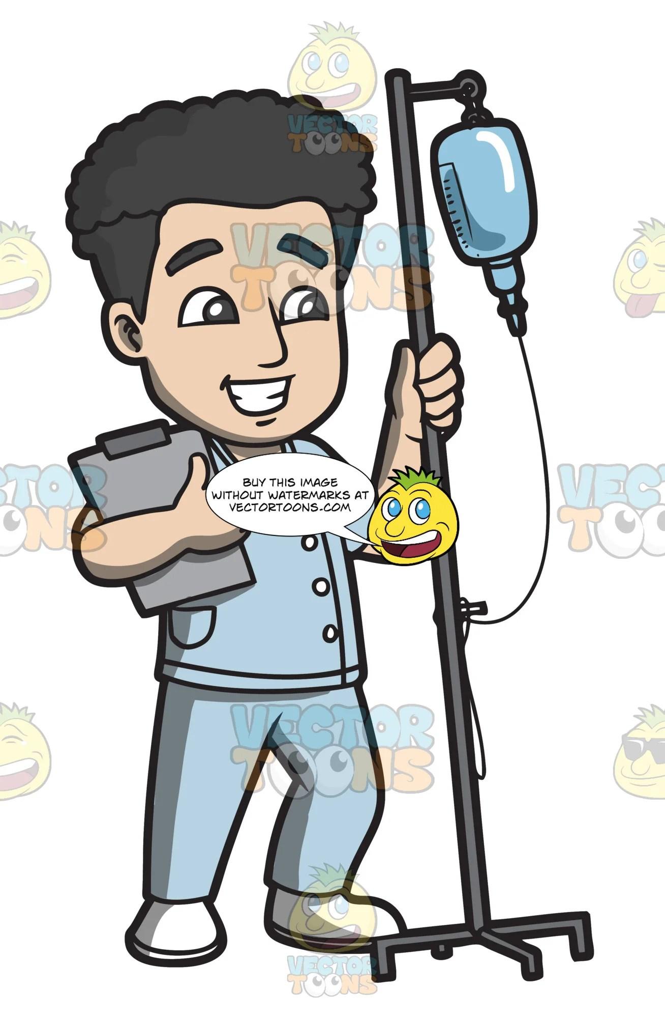 a male nurse carrying an intravenous fluid to a patient clipart cartoons by vectortoons [ 1308 x 2000 Pixel ]
