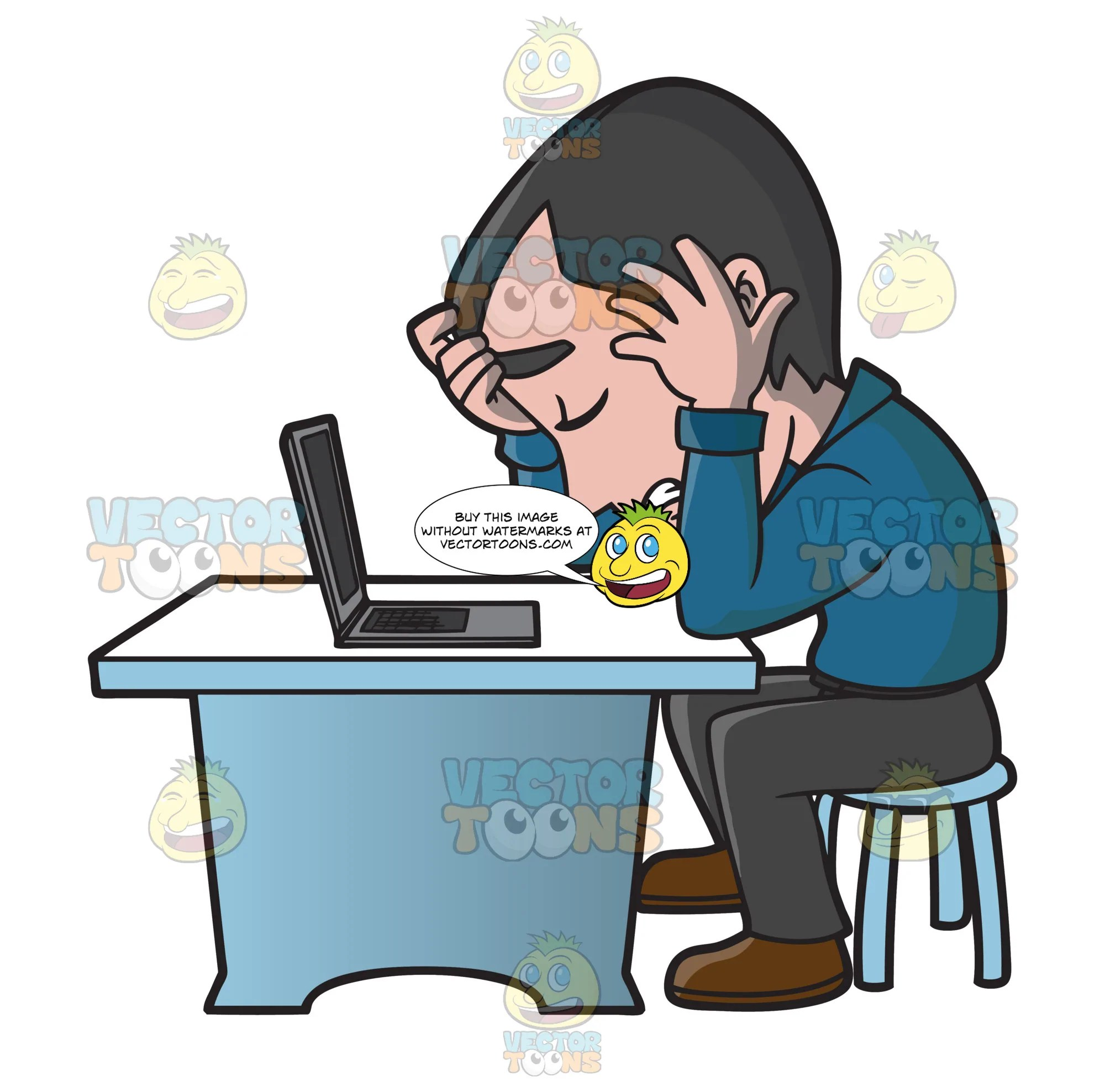 medium resolution of a frustrated man working on his computer clipart cartoons by vectortoons