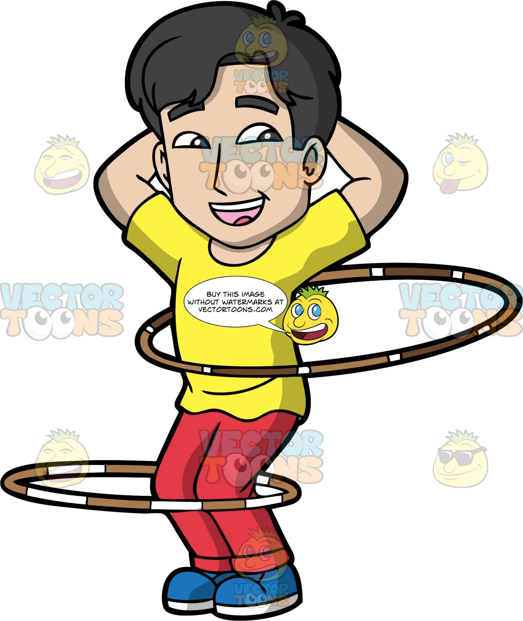 hight resolution of a joyful guy twirling hula hoops a man with black hair wearing a yellow