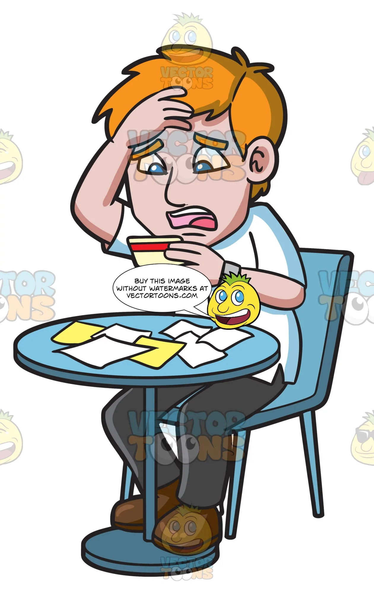 hight resolution of a man being stressed with his credit card clipart cartoons by vectortoons