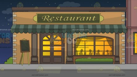 Outside A Fancy Restaurant Background Clipart Cartoons By VectorToons