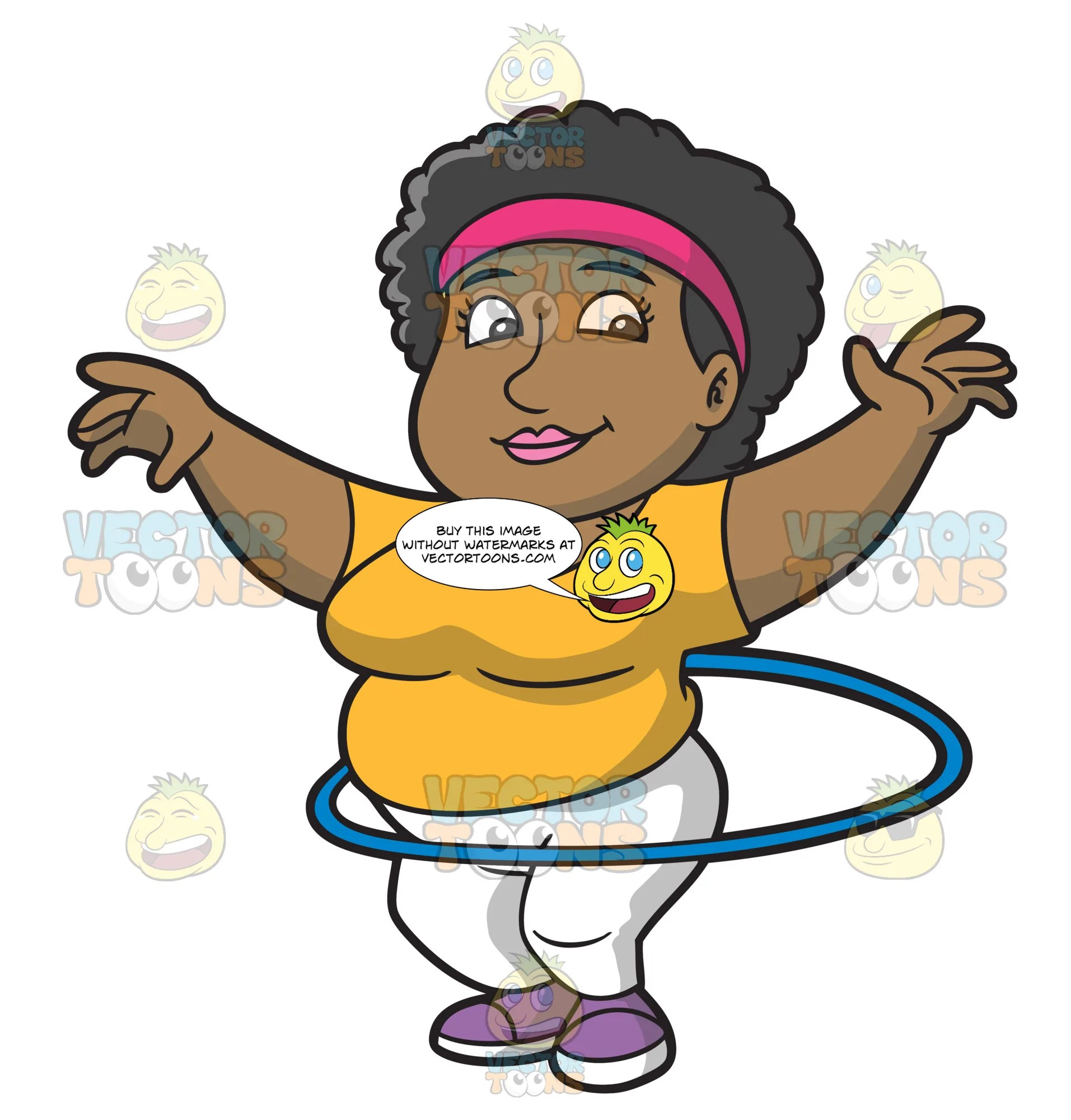 hight resolution of an overweight woman doing the hula hoop workout clipart cartoons by vectortoons