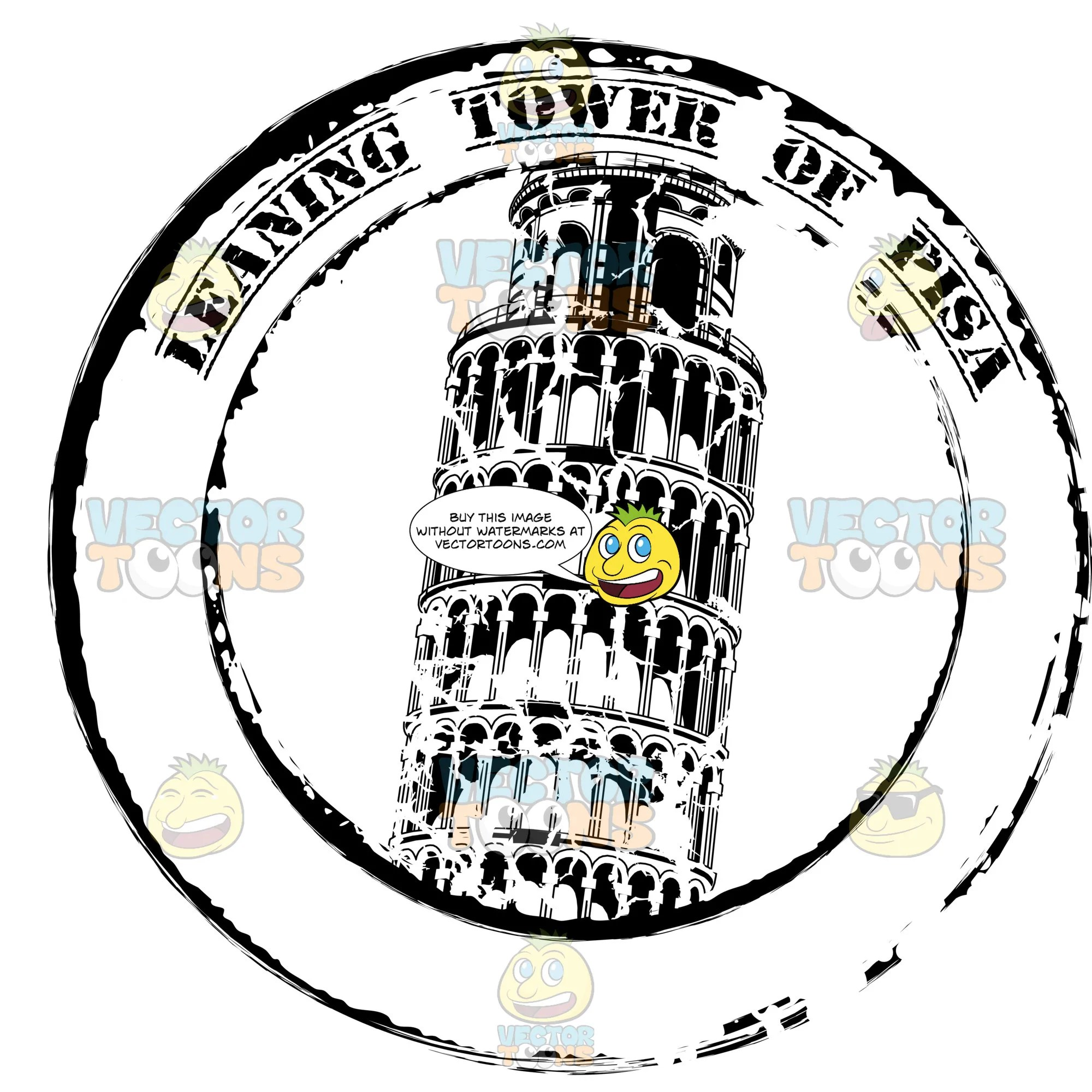 small resolution of leaning tower of pisa italy rubber passport stamp