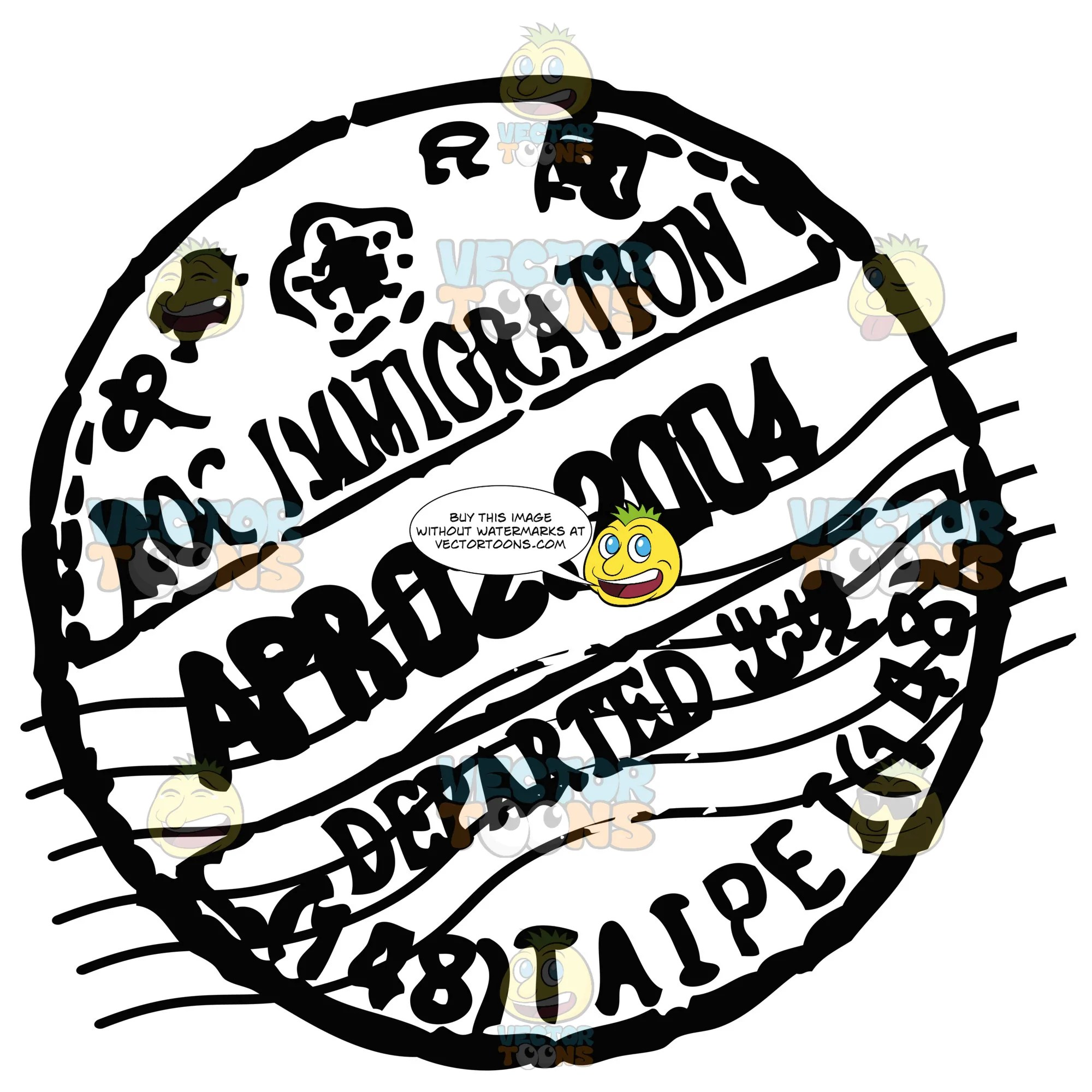 small resolution of rubber black and white circle passport stamp clipart cartoons by vectortoons